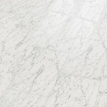 Brilliant Life 8mm Carrara White Tile High Gloss Laminate Flooring (775530)