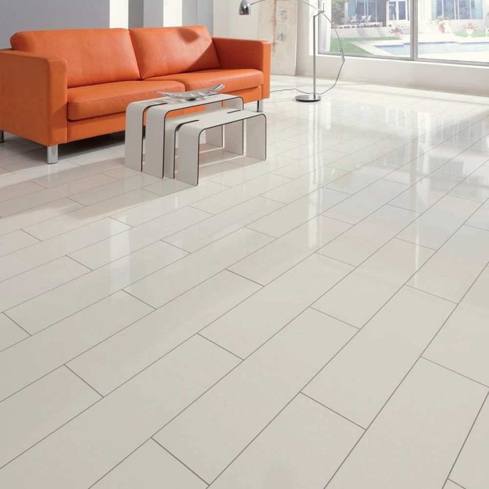 Brilliant Life 8mm White Tile High Gloss Laminate Flooring 775516