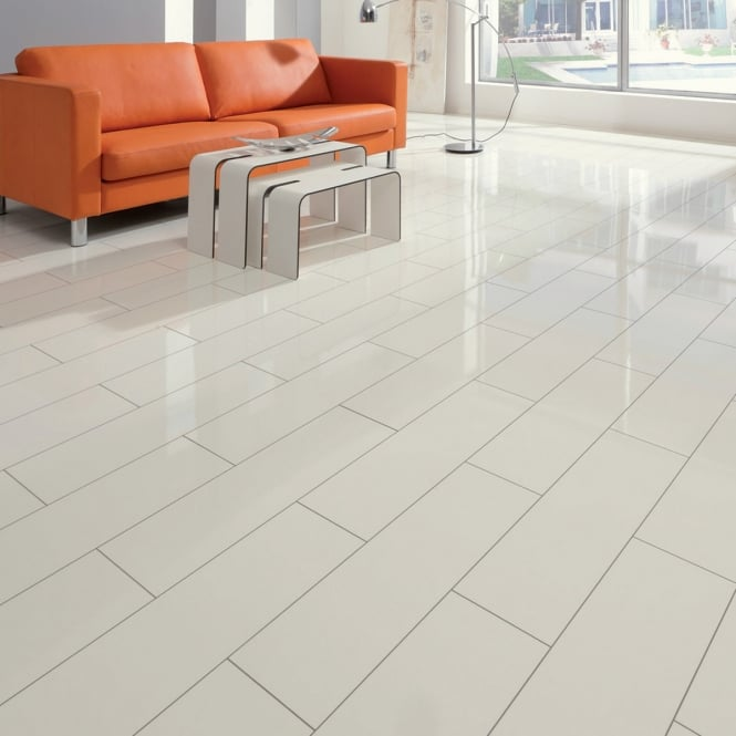 Elesgo Brilliant Life White High Gloss Laminate Tile Flooring