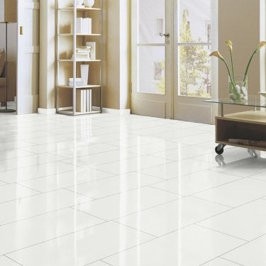 Brilliant Life 8mm White Tile High Gloss Laminate Flooring (775516)