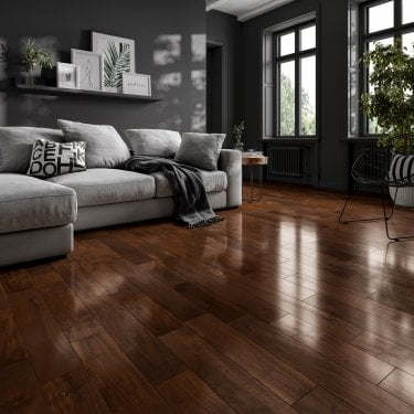 Classic 18mm x 75mm Asian Walnut Stained & Clear Lacquered Solid Wood Flooring (LIBAWAL1875)