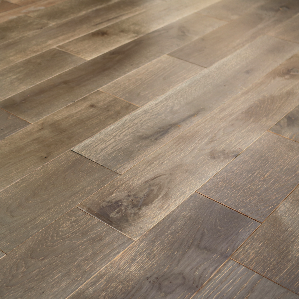 Wood flooring classic mystic grey 18x154mm brushed for Solid oak wood flooring