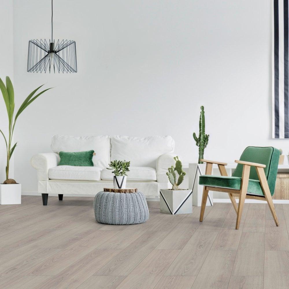 Liberty Floors Comfort 12mm Light Oak, Light Grey Wood Effect Laminate Flooring