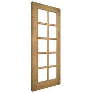 Deanta Bristol Un-Finished Internal Oak Door with Clear Bevelled Glass