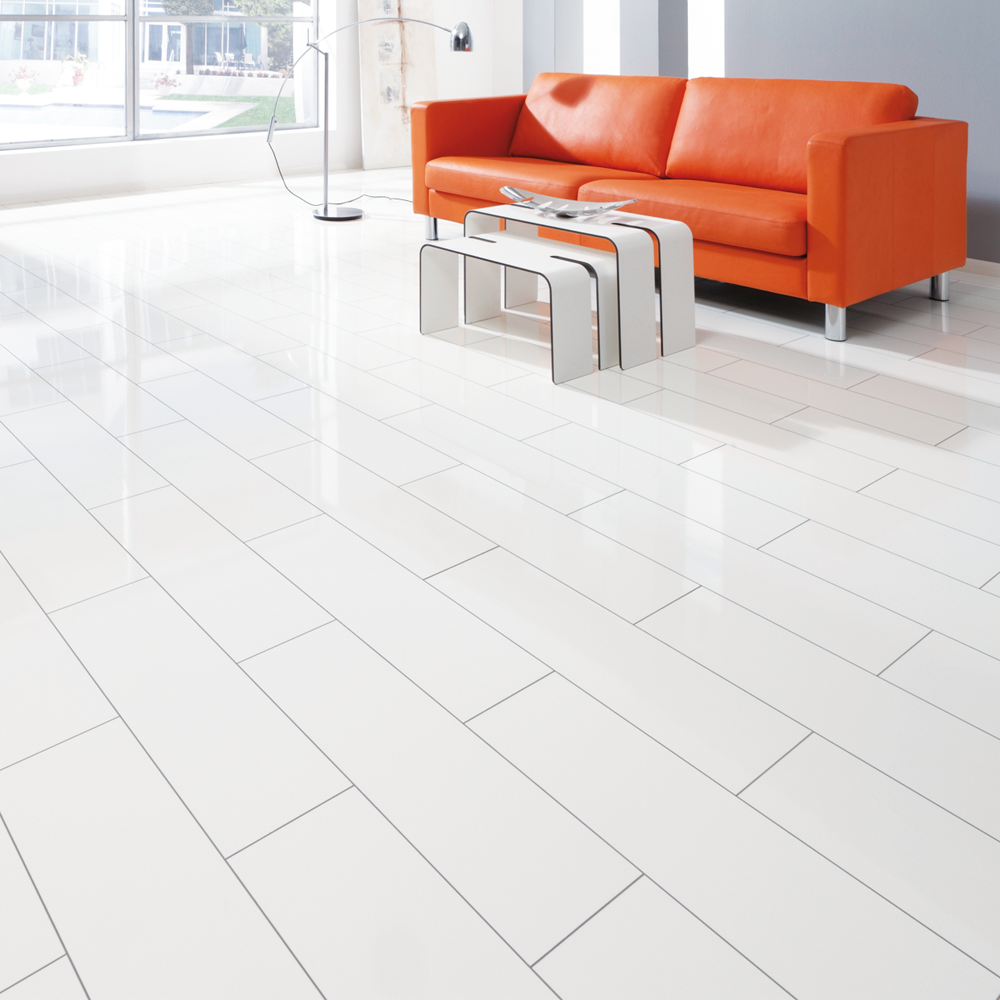 Elesgo supergloss v5 arctic white micro groove high for White laminate flooring