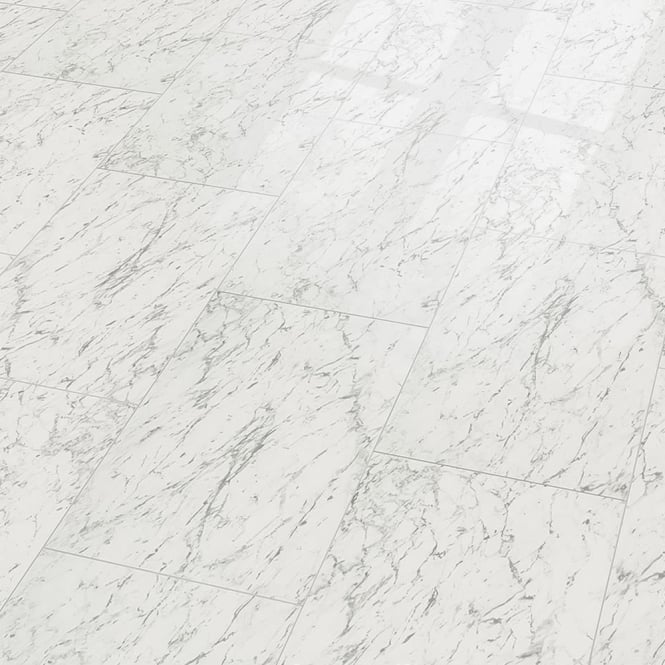 Supergloss Maxi V5 7.7mm High Gloss Carrara White Laminate Flooring (772617)