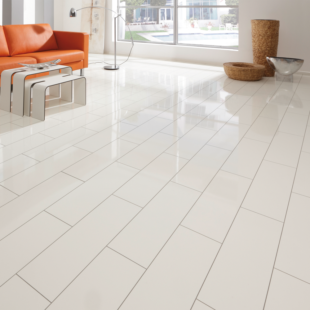 Elesgo supergloss v5 white ac3 laminate flooring for Laminate tiles