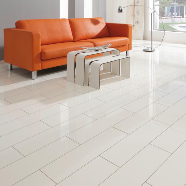 White Gloss Kitchen Flooring: Elesgo Supergloss V5 7.7mm White Micro Groove High Gloss Flooring