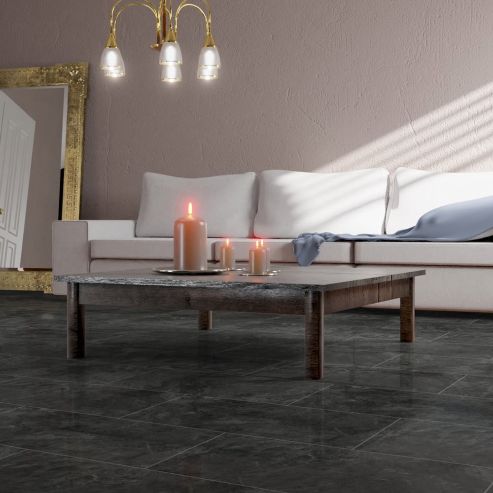 Tile Effect Laminate Flooring In Teesside: Falquon High Gloss 4V Stone Effect 8mm Pindos Tile High