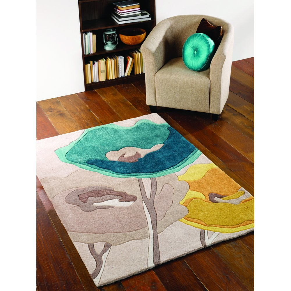 Flair Rugs Infinite Mod Art Teal & Yellow Rug