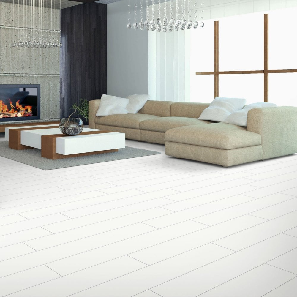 Elesgo Supergloss Plank White Laminate Flooring Carpet