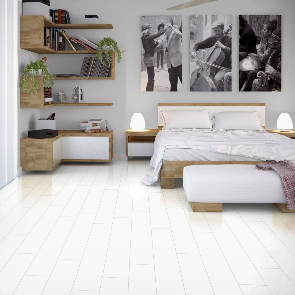 Glamour Life 8mm Arctic White High Gloss Laminate Flooring 774731