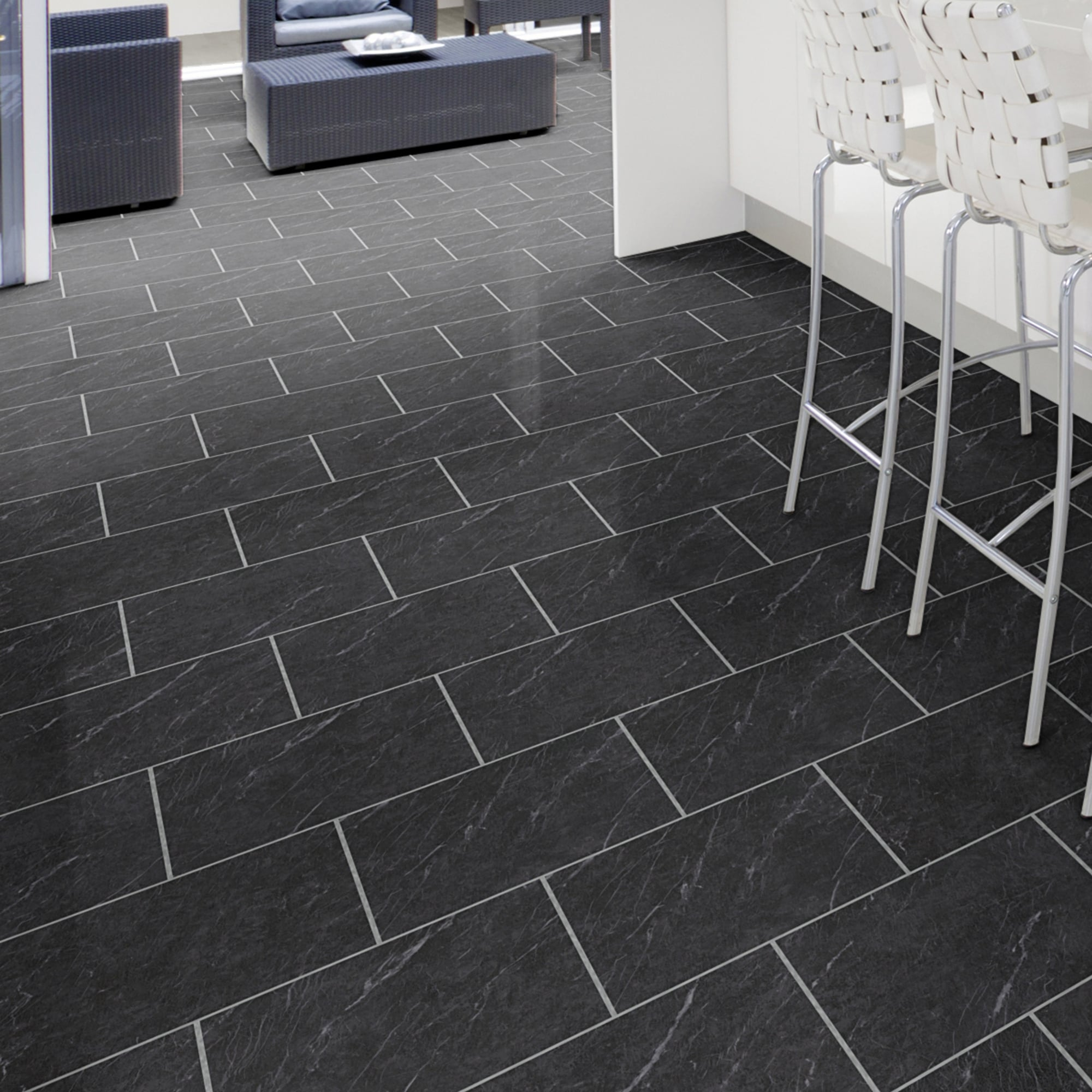 Luvanto glue down stone effect polished black slate deep for Stone effect vinyl flooring