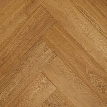 Herringbone 15mm x 148mm Natural Oak Brushed & Matt Lacquered Engineered Real Wood Flooring (2568)