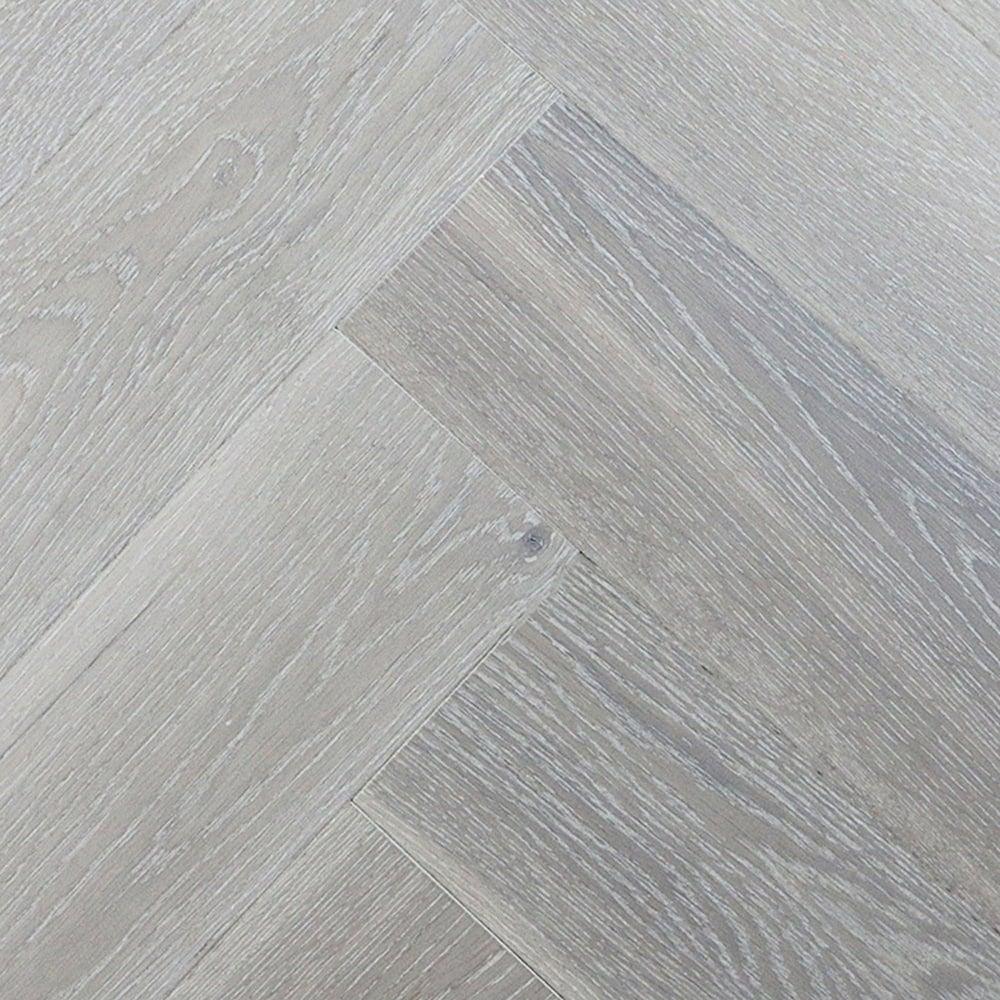 White Engineered Wood Flooring: Wood Plus Herringbone Pure White Oak Engineered Flooring