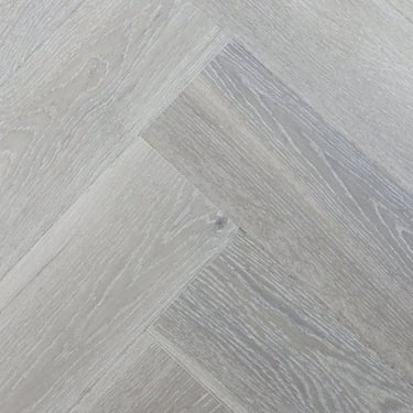 Herringbone 15mm x 148mm Pure White Oak Brushed & Matt Lacquered Engineered Real Wood Flooring (2569)