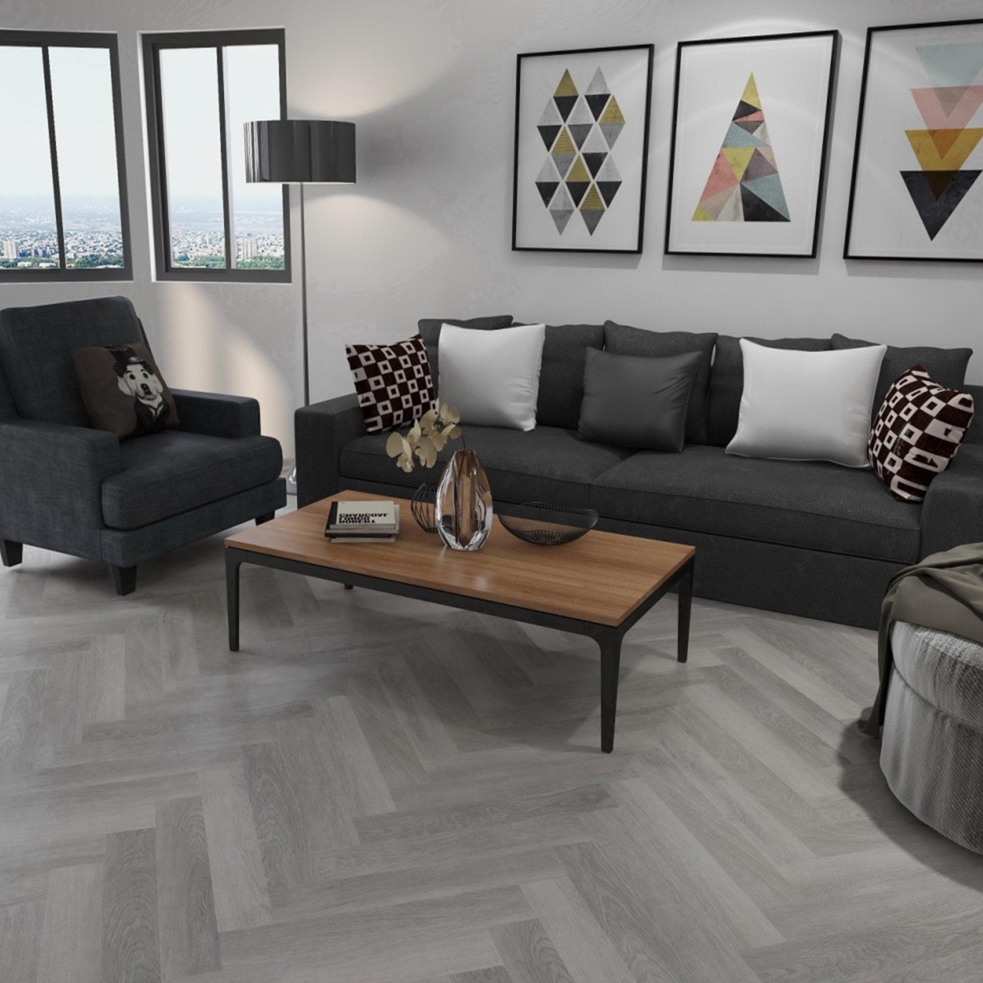 Liberty Floors Herringbone Spc 5 5mm, Grey Floor Living Room