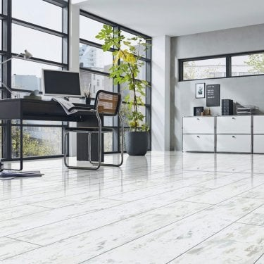 High Gloss 4V 8mm Antique White Distressed High Gloss Laminate Flooring (D3685)