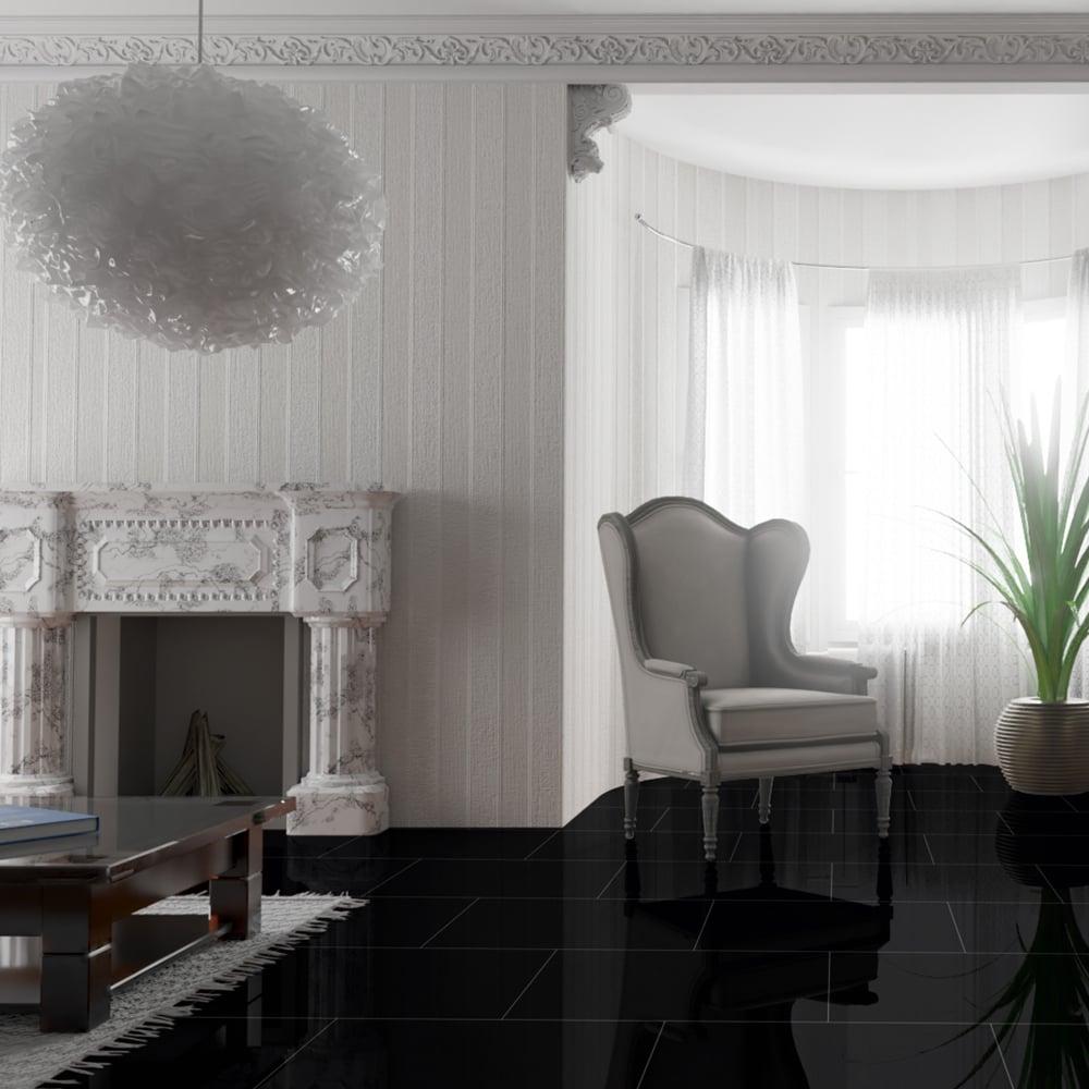 Falquon High Gloss Black Laminate Tile Flooring Leader Floors