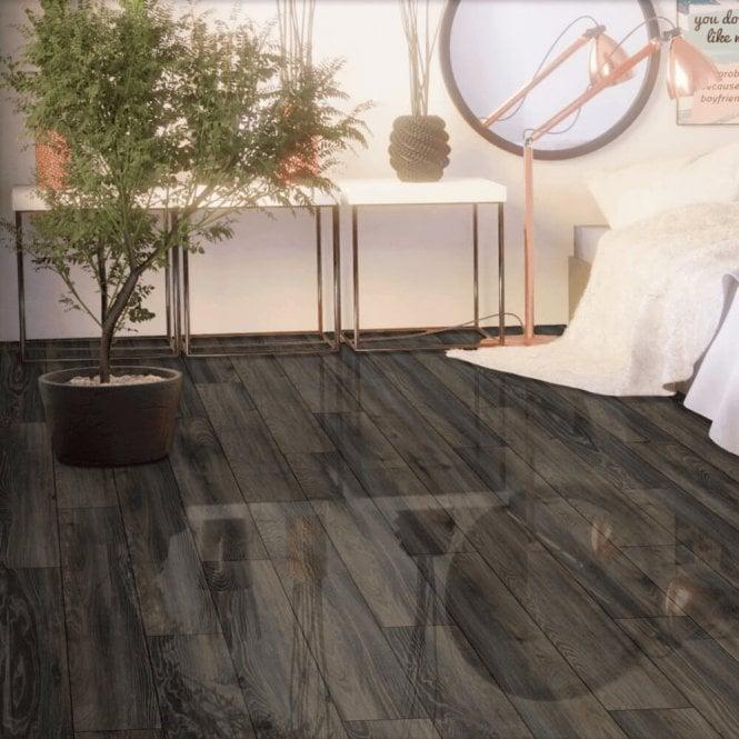 Falquon Flooring High Gloss 4V 8mm Canyon Black Oak High Gloss Laminate Flooring (D3686 ...