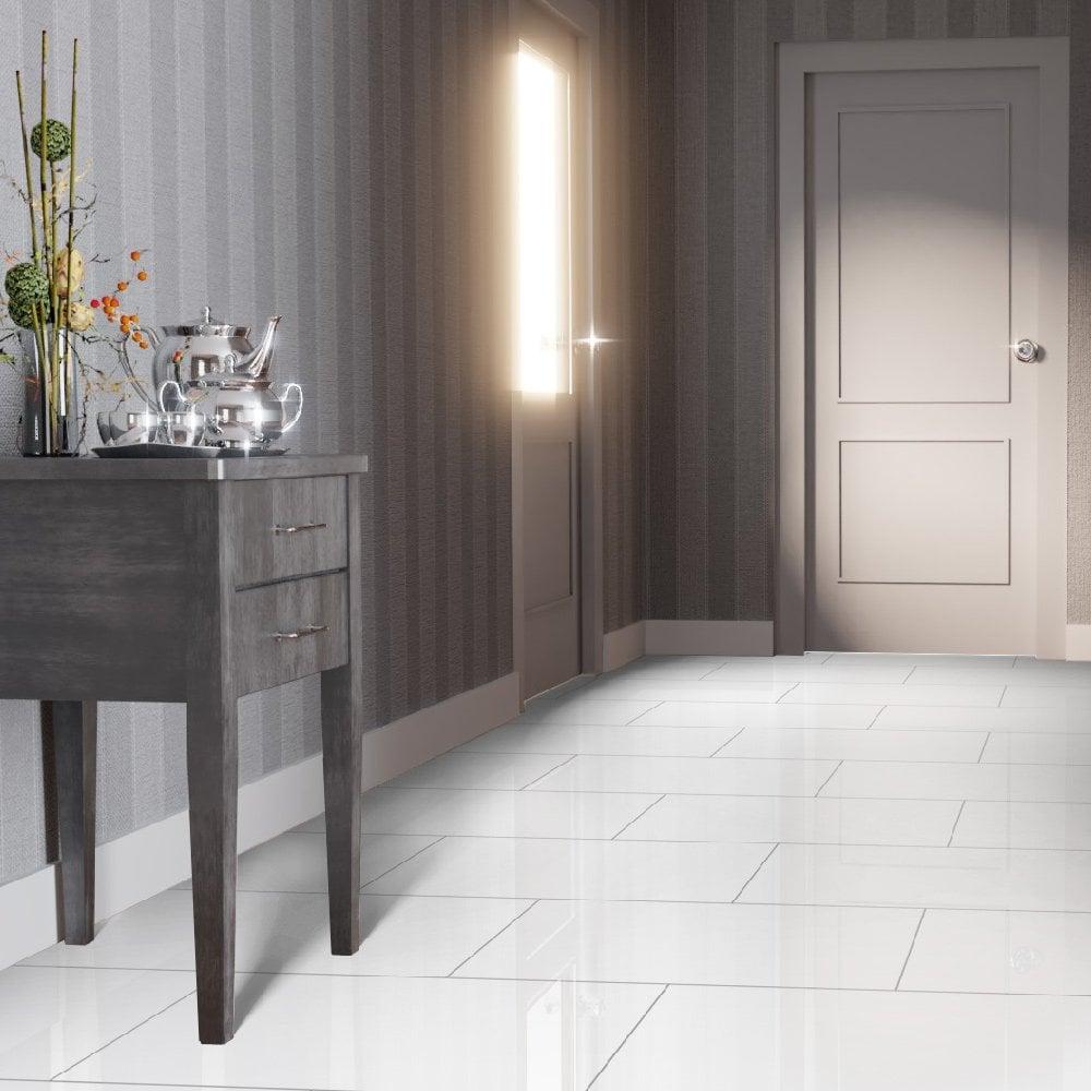 Falquon Flooring High Gloss 4V 8mm White High Gloss Tile Laminate Flooring (C500) | Leader Floors