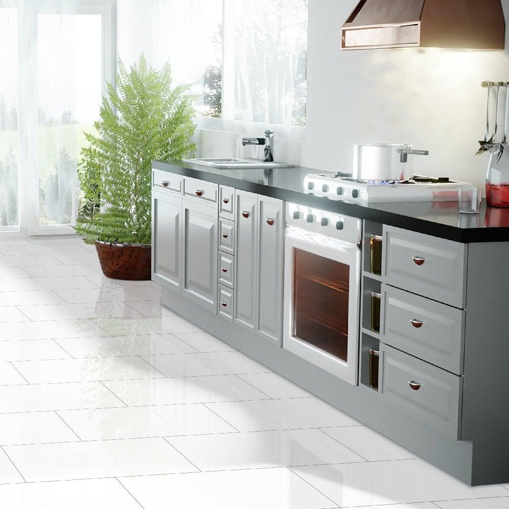Falquon Flooring High Gloss 4v 8mm White High Gloss Tile Laminate Flooring C500 Leader Floors
