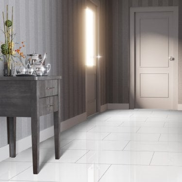 High Gloss 4V 8mm White Tile Laminate Flooring (C500)