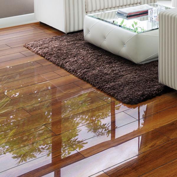 Gloss Tile Effect Laminate Flooring Part - 46: ... Falquon Flooring High Gloss 4V Plateau Merbau Laminate Flooring (D2916)