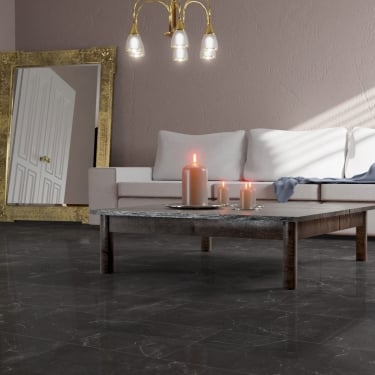 High Gloss 4V Stone Effect 8mm Botticino Classico Dark Tile Laminate Flooring (D2909)