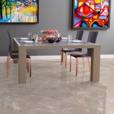 High Gloss 4V Stone Effect 8mm Botticino Classico Light Tile Laminate Flooring (D2911)