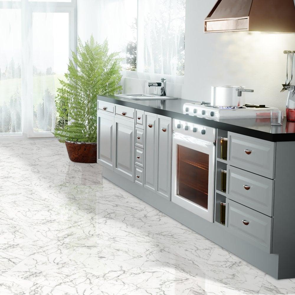 Falquon Flooring High Gloss 4v Stone Effect 8mm Carrara Marble White High Gloss Tile Laminate Flooring D2921 Leader Floors