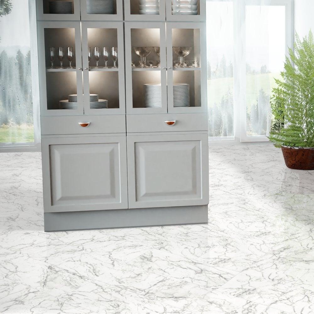 Falquon Flooring High Gloss 4V Stone Effect 8mm Carrara Marble White High  Gloss Tile Laminate Flooring (D2921) | Leader Floors
