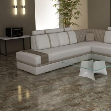 High Gloss 4V Stone Effect 8mm Grizzly Slate Tile Laminate Flooring (D4179)