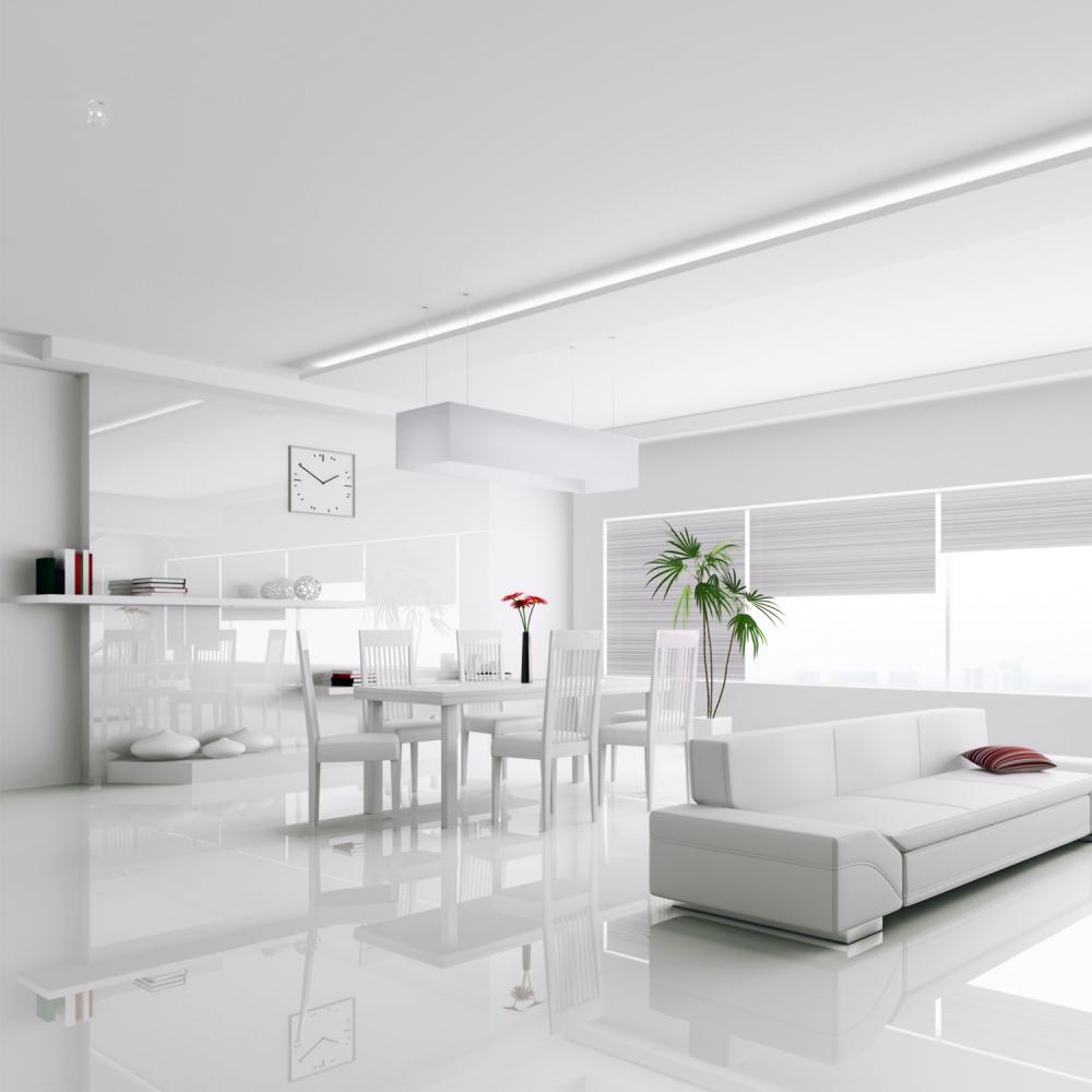 Falquon High Gloss Flat Edge White Laminate Flooring | Leader Floors