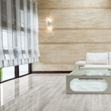 High Gloss Silver Strip 8mm White Oak Laminate Flooring (D4187)