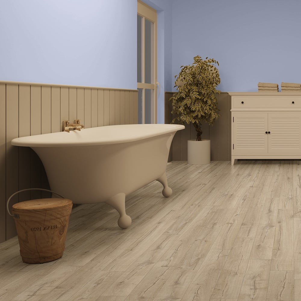 Impressive 8mm Classic Beige Oak Waterproof Laminate Flooring (IM1847)