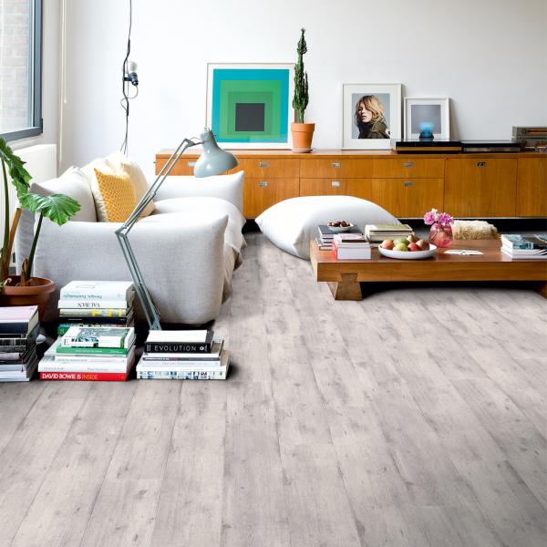 Quickstep Impressive Ultra 12mm Concrete Wood Light Grey Laminate Flooring