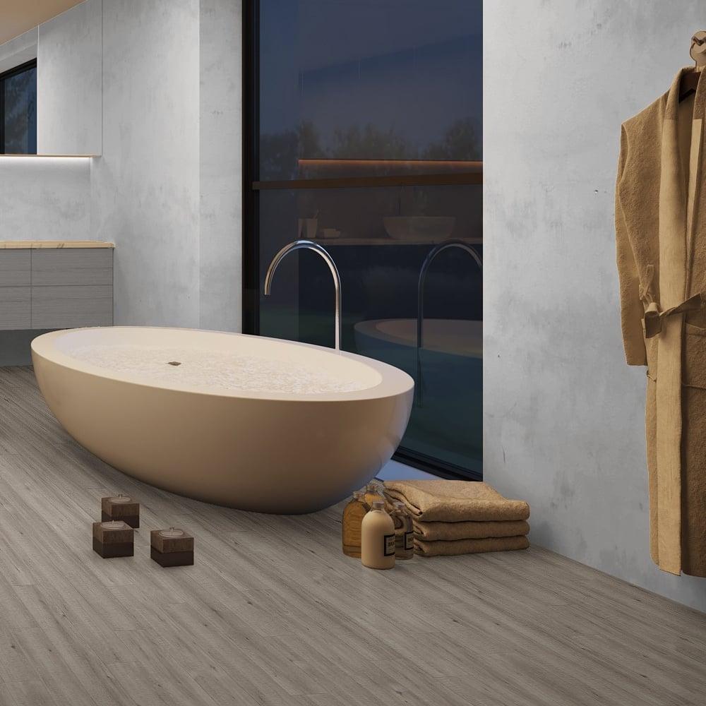 Quickstep impressive ultra 12mm saw cut grey oak laminate for Grey bathroom laminate flooring