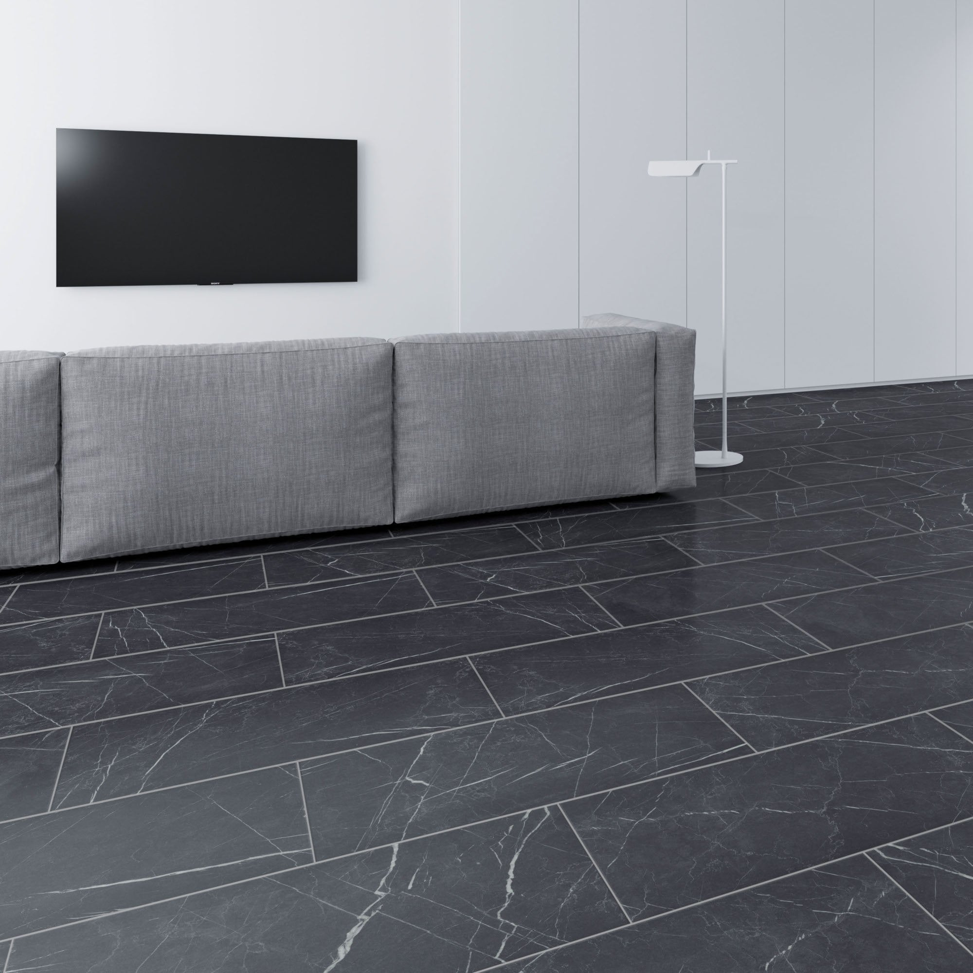 Faus Industry Tile 8mm Black Marble Waterproof Tile Laminate Flooring S180239 Leader Floors