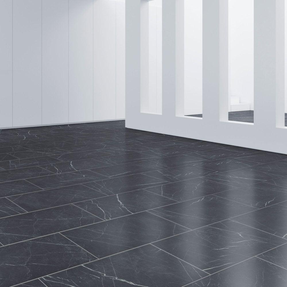 Faus Industry Tile 8mm Black Marble, Waterproof Laminate Flooring Tile Effect