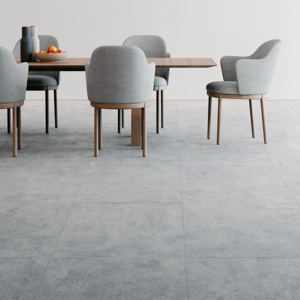 Faus Industry Tile 8mm Concrete Ultra, Cement Effect Laminate Flooring