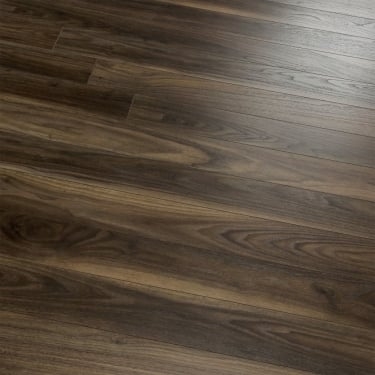 Natural Touch Narrow 10mm Handscraped Rich Dark Walnut Laminate Flooring (7658)