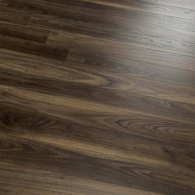 Natural Touch Narrow 10mm Rich Dark Walnut 4v Groove Laminate Flooring (7658)