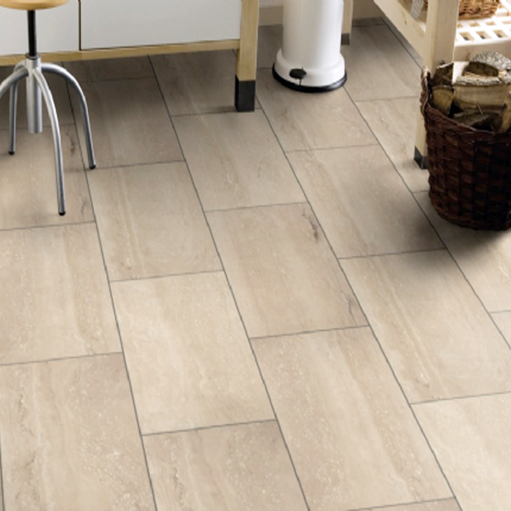 Krono original stone impression 8mm palatino travertine for Laminate floor coverings for kitchens