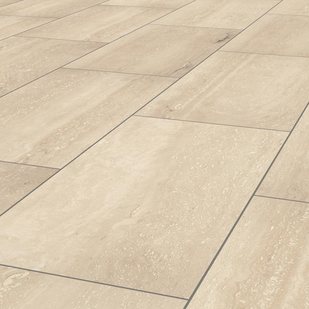 Tumbled Light Beige Stone Effect Travertine Wall Floor: Krono Original Stone Impression 8mm Palatino Travertine