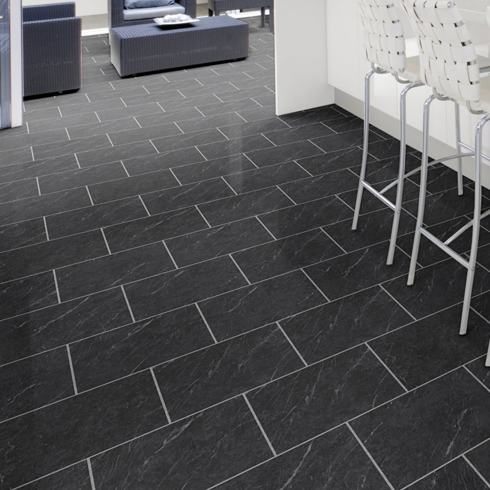 Glue down stone effect polished black slate deep emboss for Vinyl laminate effect flooring