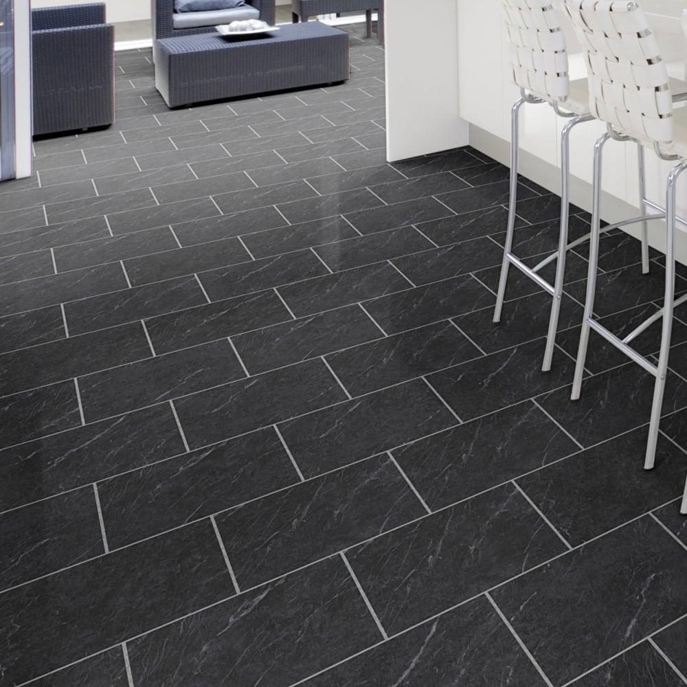Luvanto Polished Black Slate Vinyl Tile Flooring Leader