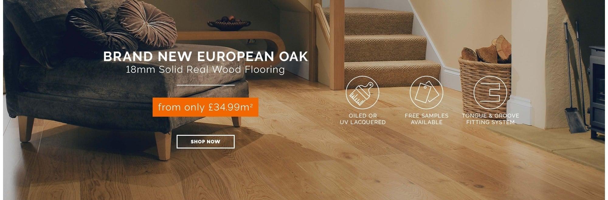 18mm Solid Real Wood European Oak flooring