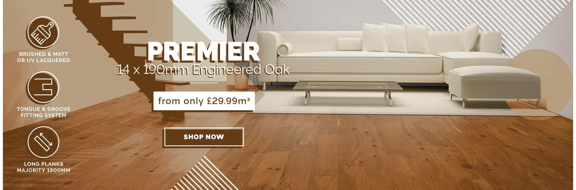 14 x 190mm Premier Engineered Oak flooring