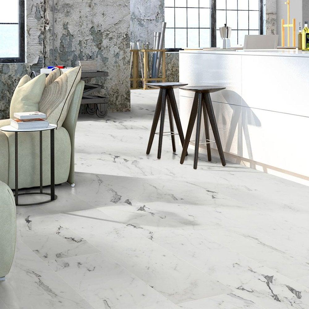 Liberty Floors Naturale 8mm Blanco, White Marble Laminate Flooring